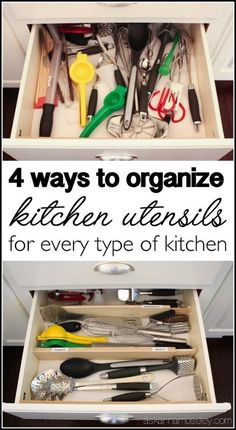 This is a great to-do project for the weekend - 4 ways to organize kitchen utensils and make sense of those cluttered drawers once and for all!