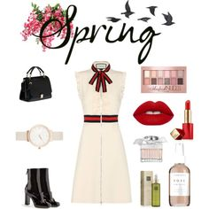 Time for Spring - by ninamulas on Polyvore. Gucci dress; Gucci boots; Miu Miu bag; Olivia Burton Watch