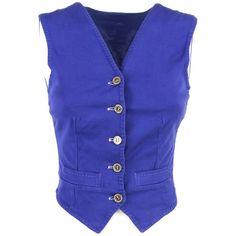 Pre-owned vest ($87) ❤ liked on Polyvore featuring outerwear, vests, blue, pocket vest, blue vest, vest waistcoat, blue waistcoat and silk vest