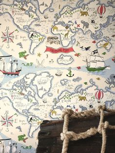 It is for kid's but we love this brilliant Treasure Map #wallpaper by Sanderson.