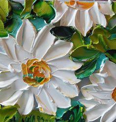 Oil Painting Impasto Painting  White Daisy Art