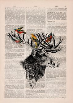 Moose head and birds collage on Upcycled Book page