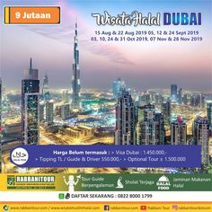 Paket Tour Dubai Muslim yang kami sediakan untuk Sahabat yang hendak menikmati liburan ke Dubai dengan yang mengasyikkan dan tentunya tidak akan Sahabat lupakan. Dubai sendiri telah menjadi tujuan wisata halal dunia, dengan Kota yang berkelas mewah dengan pemandangan yang menakjubkan.  Ayo isi liburan Sahabat dengan Wisata Halal Dubai bersama keluarga! Hubungi 0822-8000-1799 Dubai, Sheik, Burj Khalifa, Muslim, Safari, Tours, Islam
