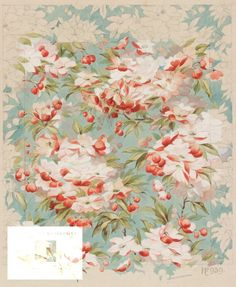 Design designed by Arthur Silver,1891    This pretty blossom design for wallpaper was created by Arthur Silver in 1891. It was probably intended for Liberty & Co., one of the Silver Studio's best customers at that time. Delicate, feminine designs such as this were much admired by writers on decoration in the 1880s and 1890s.  SD9011