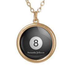 Personalized 8 Ball Billiards Pool Pendant Necklace...