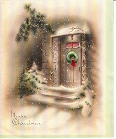Vintage Greeting Card Christmas Door Wreath Snow (O482)