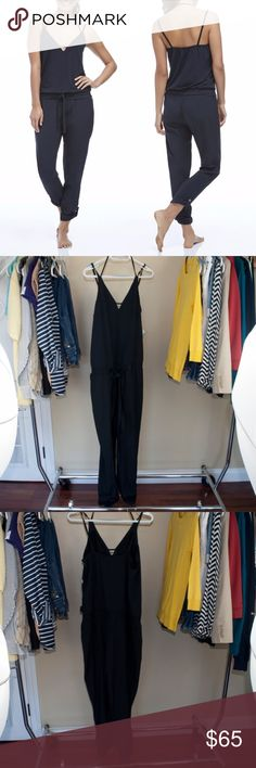 "NEW Fabletics black sleeveless Parker Jumpsuit Brand new with tags, size Medium. Armpit to armpit 19"" Armpit down 53"" (bottom unrolled) Inseam 30"" (Bottom unrolled)  NO TRADES. Fabletics Pants Jumpsuits & Rompers"