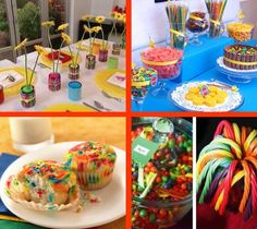 art party food.  Ooh!  This just made me think of Funfetti cake mix.  How easy to just use a multicolored cake mix instead of a multi-layered cake where each cake is a different color.