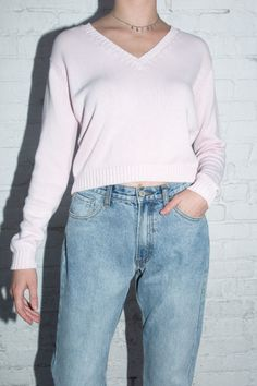 Knit v-neck style sweater in pink with ribbed trimmings. Fabrics: cotton Measurements: 19 inches length, 20 inches bust Made in: Brandy Melville Outfits, Brandy Melville Sweaters, Punk Fashion, Teen Fashion, Fashion Outfits, Lolita Fashion, Dance Outfits, Cute Outfits, Tomboy Outfits