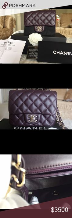 Brand New Chanel Square Mini Flap Beautiful Chanel Mini Square Flap Brand New DARK PURPLE and Never worn.. Comes with dustbag, COA , Box , Copy of the tag and a receipt( upon request) Price Negotiable or best offer... This is 100% authentic or Full refund if you showed me a certificate from reputable authenticator stated Fake or Counterfeit.. I will also reimburse the fee on the said certificate.. Additional informations please don't hesitate to contact me..❌❌❌TRADES🚫🚫🚫 CHANEL Bags…