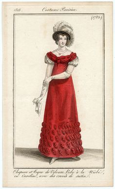 Journal des Dames et des Modes, 1818.  Stunning color, weird headdress!