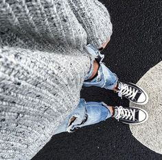 Let's have casual Fridays everyday! Pair a cozy sweater with distressed jeans and your favorite chuck taylors!