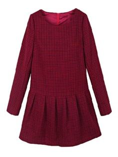 Red Plaid Long Sleeve Pleat Dress
