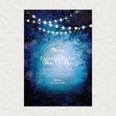 into the woods printable woodland wedding invitation fairytale fantasy forest trees fairy lights blue purple magical whimsical diy customi