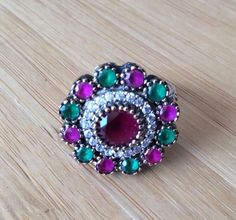 High Quality Sterling Silver Ottoman Floral Design Emerald Ruby Rings #GrandBazaarJewelers #Statement #Birthday