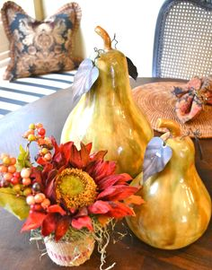 Texas Chic Interiors - Soup Can Covered Fall Floral Arrangement