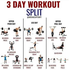 A great example of a workout split for training. Can be used for any lev… A great example of a workout split for training. Can be used for any level, just adjust exercises to your capabilities. Push Pull Legs Workout, Push Workout, Workout Splits, 3 Day Workout, Full Body Workout Routine, Gym Workout Tips, Fitness Workouts, Weight Training Workouts, At Home Workouts