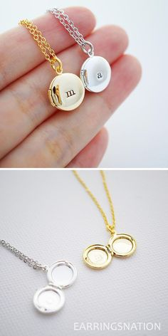 Personalized necklace from EarringsNation monogram necklace initial locket keepsake locket secret wedding minimalist necklace Cute Jewelry, Silver Jewelry, Vintage Jewelry, Jewelry Accessories, Jewelry Necklaces, Silver Rings, Couple Necklaces, Jewlery, Gold Locket