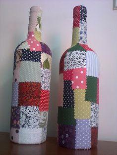 CAIXAS DE MDF DECORADAS: Aproveitei os retalhos para reciclar estas garrafa...