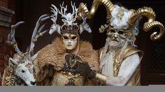 Download wallpaper venice, carnival, mask, costumes, horns, deer, miscellanea resolution 1366x768