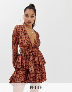 JOHN ZACK  BURGUNDY RED LEOPARD PLUNGE V FRONT RUFFLED TIERED MINI-DRESS