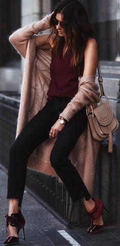 #fall #trending #outfits | Blush + Burgundy + Black
