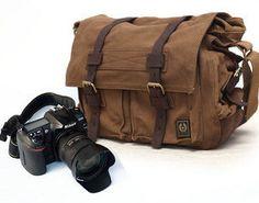 Canvas Nikon Cannon bag Messenger Vintage by cameraleatherbelt