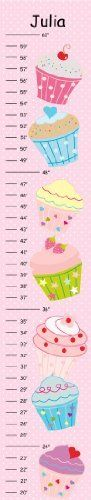 """Cupcakes with Pink Polka Dots Canvas Growth Chart - See store for more charts by Growth Charts Galore. $26.00. Track your little one's growth with color and style. Our fun and adorable canvas growth charts makes a darling accent for a bedroom or playroom. Choose from a variety of designs.  High quality canvas measures 42""""L x 8""""W and comes ready to display with a coordinating ribbon to hang. Details * Includes grosgrain hanging ribbon * Made of high quality canvas * Makes nice bir..."""