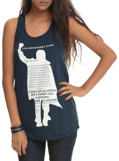Navy racer back tank top from The Breakfast Club with John Bender silhouette & letter to Mr. Vernon design.