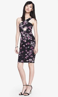 CUT-OUT FRONT MIDI SHEATH DRESS - FLORAL | Express