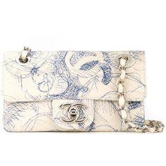 Chanel Vintage scribble print shoulder bag (£3,280) ❤ liked on Polyvore featuring bags, handbags, shoulder bags, white, vintage leather handbags, chanel purse, vintage handbags, leather handbags and white leather shoulder bag