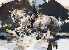 Pascale Chandler: Dressage I: fine art | StateoftheART Dressage, Beautiful Horses, Art For Sale, Equestrian, Original Artwork, Fine Art, Canvas, Gallery, Painting