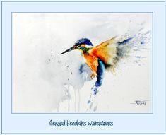 ijsvogel, kingfisher Watercolor Animals, Abstract Watercolor, Watercolor Paintings, Watercolours, Bird Drawings, Animal Drawings, Painting Prints, Painting & Drawing, Kingfisher Tattoo