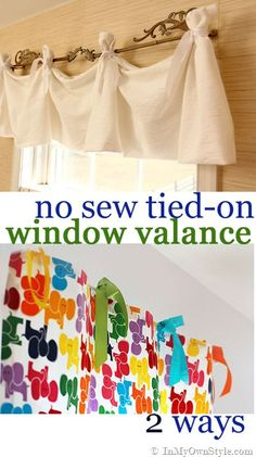 No-Sew Window Treatment for both kids and grown-up rooms. {InMyOwnStyle.com}  #windowtreatments