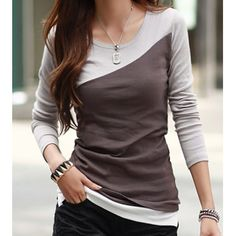 Wholesale Casual Scoop Neck Color Block Long Sleeve Cotton Women's T-Shirt Only $3.97 Drop Shipping   TrendsGal.com