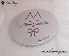 """Miroir de poche, miroir de sac, chat, ChatMage, """"Mademoiselle ChatMage"""", gris, gris perle, Pocket Mirror, Bag Mirror, cat, """"Miss ChatMage"""", pearl grey"""
