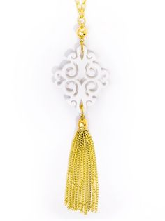 Twirling Blossom Pendant Tassel Necklace