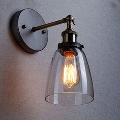 Pas cher Loft Vintage industriel Edison mur lampes en verre transparent applique…