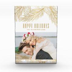 Gold Pinecones and Pine Needles Holiday Photo Block - Xmas ChristmasEve Christmas Eve Christmas merry xmas family kids gifts holidays Santa