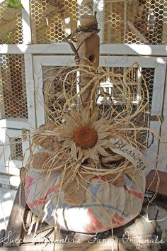 Sweet Magnolias Farm Originals Farmhouse Feed Sack Pumpkin - Fall Autumn Thanksgiving Decoration - x-large size 42 inch circumference (around) SOLD  to a Good Home !