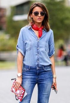 How to Master the Double Denim Trend Like a Street Style Star - theFashionSpot Denim Fashion, Star Fashion, Fashion Trends, Fashion Styles, Cropped Jeans, Denim On Denim, All Jeans, Double Denim, Denim Trends