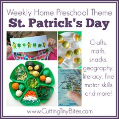 St. Patricks Day Theme- Weekly Home Preschool. Ideas for crafts, snacks, fine motor, science, math, geography, and more! Perfect amount of EASY activities for one week of homeschool pre-k..