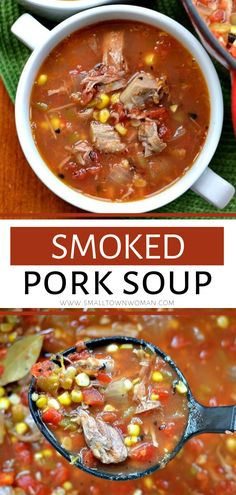 An easy soup recipe for dinner! This tasty Smoked Pork Soup combines fresh sweet corn, smoked pork butt, onions, green chili's and salsa style tomatoes into a delectable soup. It is the perfect comfort food recipe for the cold weather. Save this scr Best Soup Recipes, Healthy Soup Recipes, Chili Recipes, Pork Recipes, Cooking Recipes, Smoked Pork Chili Recipe, Chili Soup Recipe, Smoker Recipes, Protein Recipes