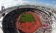 A general view of the Olympic Stadium shot with a fish eye lens this morning. Photograph: Ian Walton/Getty Images