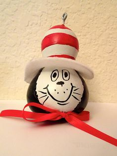 Cat in the hat gourd ornament painted gourd christmas