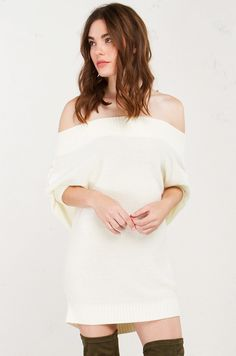 Front View Knit Ribbed Off The Shoulder Short Sleeved Tunic Top in Cream