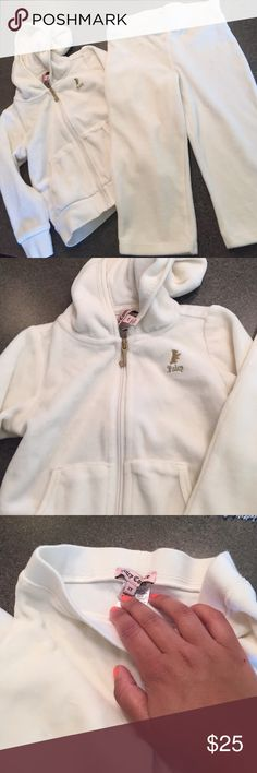 Juicy couture toddler track suit Cream/ off white • great condition • barely worn • no tears or rips just very unnoticeable staining as shown in picture 4 Juicy Couture Matching Sets