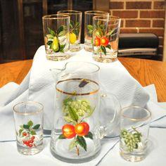 West Virginia Glass Juice Set
