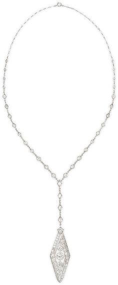 NM Estate Jewelry Collection Estate Art Deco Navette Diamond Pendant Necklace