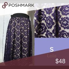 LuLaRoe Small Lola Lace Skirt Purple with cream background - LuLaRoe Lola Skirt. Below the knee lace skirt with elastic waist. Love mine - and these are so comfy! Smoke Free House! Questions? Please feel free to ask :) LuLaRoe Skirts Midi